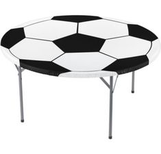 The round Fitted Soccer Ball Table Cover is printed like a giant black and white soccer ball and fits a round table up to 60in diameter. Whether your soccer party is indoors or out, this plastic table cover is definitely a winner!