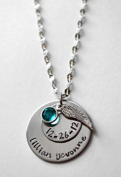 Personalized Memorial necklace - Birth necklace - Remembrance Necklace - Angel Wing Necklace - Always in my heart