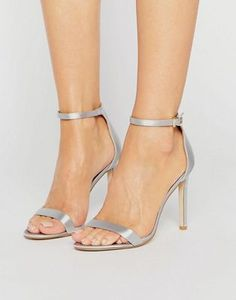 8c20475d8da Public Desire Avril Pale Grey Satin Barely There Heeled Sandals