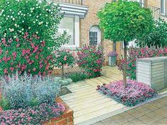 Der Weg zur Haustür muss nicht immer schnurgerade sein. So wird der Blick nicht nur auf die Pflanzung gelenkt, der Garten bekommt zugleich auch mehr Tiefe