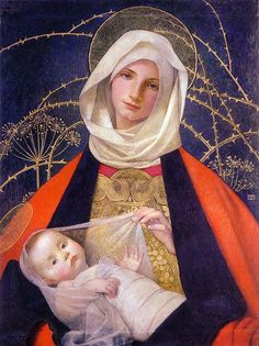 Madonna and Child by Marianne Preindlsberger Stokes c. 1907/8  Austrian/British Pre-Raphaelite Painter (1855 – 1927)