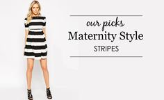 Striped Maternity Clothes - from bold black and white to cheery colors! #maternity #style