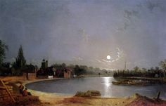 The Thames at Moonlight, Twickenham - Henry Pether