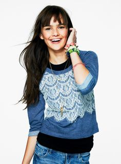 Scalloped Lace Front Sweatshirt