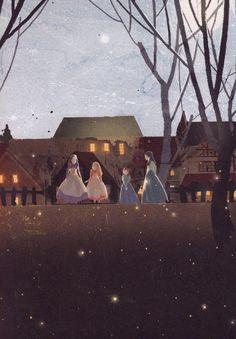 """Kim Ji Hyuck (Hanuol), """"Little Women"""" illustration. Illustration Noel, Louisa May Alcott, Anne Of Green Gables, Naive Art, I Love Books, Book Characters, Vintage Posters, Fantasy Art, Book Art"""