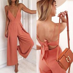 New coral V neck backless long wide leg jumpsuit orange romper spring summer New casual V neck long wide coral jumpsuit strap orange summer backless romper Coral Dress, White Jumpsuit, Rompers Women, Jumpsuits For Women, Elegante Jumpsuits, Spring Summer Fashion, Spring Outfits, Fashion Clothes, Casual Chic Outfits