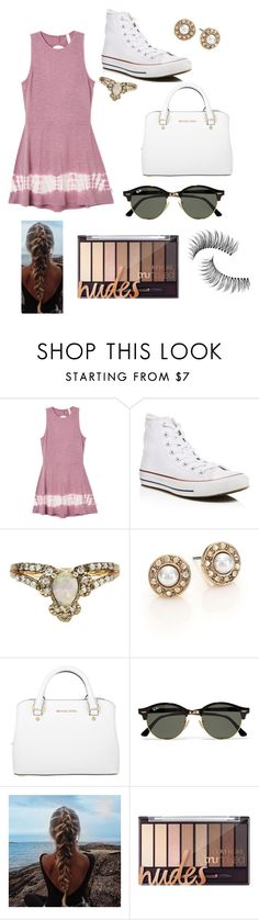 """"""""""" by mallory-d ❤ liked on Polyvore featuring RVCA, Converse, Oscar de la Renta, Michael Kors, Ray-Ban and Trish McEvoy"""
