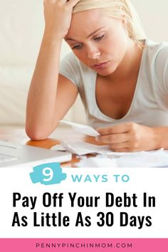 Paying off large debts usually requires a long-term game plan. But just a couple of easy steps can help you pay off your smaller debts in a short time frame. Want to buckle down and eliminate debt quickly? Here are nine ways to pay off your debt in 30 days or less. Debt Repayment, Debt Payoff, Pay Debt, Money Problems, Financial Stress, Get Out Of Debt, Managing Your Money, Budgeting Money, Organising