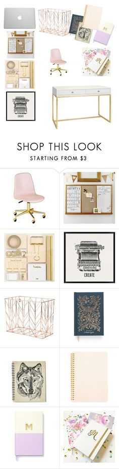 """""""My office"""" by megan-simard ❤ liked on Polyvore featuring interior, interiors, interior design, home, home decor, interior decorating, PBteen, Pottery Barn, U Brands and Rifle Paper Co"""