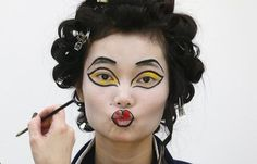A model in makeup during London Fashion Week.