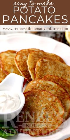 Easy Potato Pancakes Easy Potato Pancakes by Renee's Kitchen Adventures is a recipe for Polish Style potato pancakes with a super easy shortcut method of preparation. Delicious as a meatless main dish or a side dish. Polish Potato Pancakes, Recipe For Potato Pancakes, German Potato Pancakes, Mashed Potato Pancakes, Easy Potato Recipes, Easy Main Dish Recipes, Potato Side Dishes, Main Dishes, Pancakes Easy
