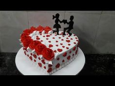 How to make Engagement cake heart shape cake making by New Cake Wala Cake Decorating Designs, Creative Cake Decorating, Cake Decorating Videos, Cake Decorating Techniques, Decorating Ideas, Marriage Anniversary Cake, Anniversary Cake Designs, Happy Anniversary Cakes, Heart Shaped Birthday Cake