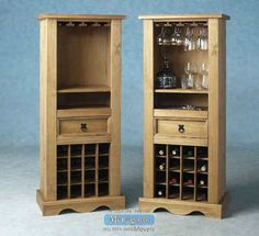 Wine rack furniture will complete your home performance to be glare more. It is suitable for wine enthusiast which is available in many ideas Wine Cabinet Furniture, Wine Storage Cabinets, Wine Bar Cabinet, Wine Rack Storage, Drinks Cabinet, Pine Furniture, Furniture Design, Display Cabinets, Wood Wine Racks
