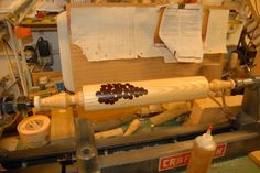 Maple rolling pin with purple heart inlays