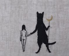 Hand embroidery on natural linen. - Adipocere. Artists on tumblr