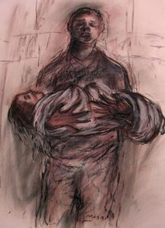 "Saatchi Online Artist Masri Hayssam; Drawing, ""Even the angels die in our countries..."" #art"