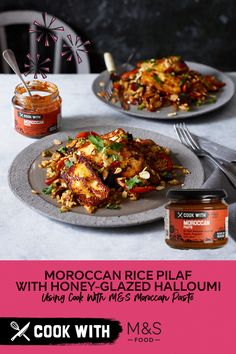 Cook With M&S. Moroccan rice pilaf with honey-glazed halloumi - Who's cooking dinner tonight? Our Cook With M&S Moroccan Paste is just the thing for chilly days. Veg Recipes, Clean Recipes, Vegetarian Recipes, Cooking Recipes, Healthy Recipes, Moroccan Rice, Fajita Mix, Order Food, Halloumi
