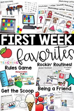 First week favorites has class meetings on rules, good habits, partner play, routines, and word lessons. Create a classroom community and keepsake backpack. First Day Of School Activities, Teaching First Grade, 1st Day Of School, Beginning Of The School Year, Middle School, High School, Starting School, Teaching Time, Teaching Activities