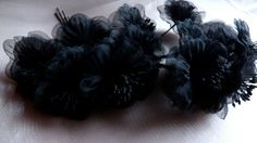 Black Organza Millinery Flower YoYos in for Bridal, Headbands, Fascinators, Floral Supply MF95