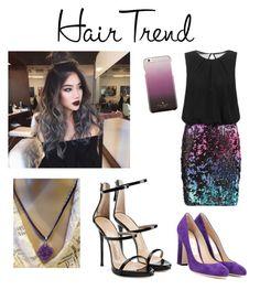 """Purple hair"" by jessaraemm on Polyvore featuring beauty, Laona, Giuseppe Zanotti, Jimmy Choo, Kate Spade, hairtrend and rainbowhair"