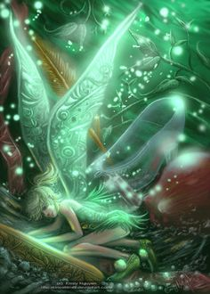 """A green fairy   ✮✮""""Feel free to share on Pinterest"""" ♥ღ www.fairytales4kids.com"""