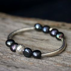 Pearl Sterling Bangle Bracelet Karen Hill Tribe Silver door byjodi