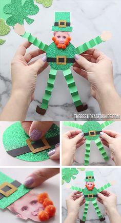 Paper Leprechaun - Kids Crafts - Paper Leprechaun Craft for St Patrick& Day – such a fun craft for kids to make. Perfect for - St Patrick's Day Crafts, Daycare Crafts, Crafts For Kids To Make, Fun Crafts For Kids, Baby Crafts, Toddler Crafts, Preschool Crafts, Holiday Crafts, Art For Kids