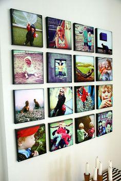 Slaraffenliv: Bildevegg. Lerret fra Søstrene Grene og programmet Polaroid.