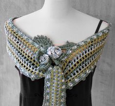 Ice Rose Hand crocheted Freeform Scarf Capelet pastel tones