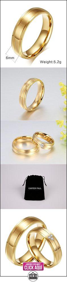 CARTER PAUL Las alianzas de boda anillo de acero inoxidable del diamante de la CZ 18K del oro de la pareja, los hombres, Tamaño 17  ✿ Joyas para mujer - Las mejores ofertas ✿ ▬► Ver oferta: https://comprar.io/goto/B01KHLJARU