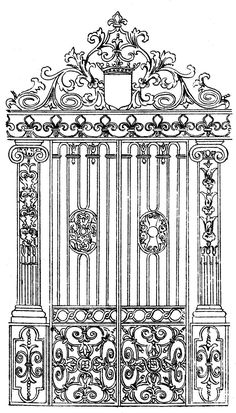 Click on image to enlarge Here's a wonderfully ornate black and white clip art image of an antique gate! I think this one would be great as the background for an ATC. XXXOOO