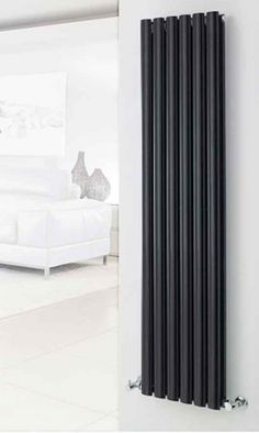 Hudson Reed Revive Double Panel Vertical Designer Radiator - High Gloss Black