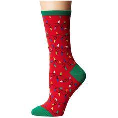 Socksmith Christmas Lights (Red) Crew Cut Socks (84 SEK) ❤ liked on Polyvore featuring intimates, hosiery, socks, red hosiery, red cotton socks, cotton crew socks, cotton knee high socks and christmas socks