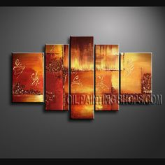 Beautiful Modern Abstract Painting Hand Painted Oil Painting Gallery Stretched Abstract. This 5 panels canvas wall art is hand painted by Bo Yi Art Studio, instock - $157. To see more, visit OilPaintingShops.com