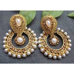 Golden Stone Pearl Polki Earring