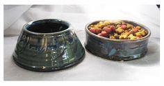 Custom dog dishes, wheel thrown pottery.
