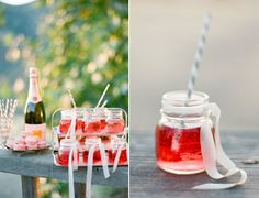 pink bubbly cocktails in short mason jars