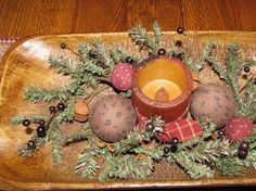primitive christmas | Primitive Christmas Centerpiece Treenware Bowl