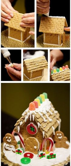 Mini gingerbread house…this would be good cause I don't have the patience to make a full one