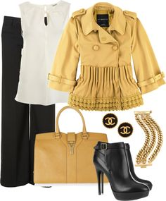 """""""Mustard with black and gold"""" by averbeek on Polyvore... the jacket is wow"""