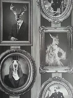 WOW! Dogs Stags in Ornate Picture Frames Black White Grey Feature Wallpaper in Home, Furniture & DIY, DIY Materials, Wallpaper & Accessories | eBay