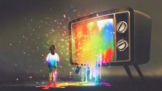 girl messed with colorful light from the big television, rainbow paint drops from retro TV, digital art style, illustration painting Paint Drop, Character Design Girl, Rainbow Painting, New Pictures, Royalty Free Photos, Light Colors, Northern Lights, Digital Art, Retro