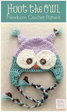 Free Crochet Hat Pattern – Hoot the Owl Newborn - Crochet Hat Patterns - 148 Free Patterns for Beginners - DIY & Crafts Newborn Crochet Hat Pattern, Crochet Owl Hat, Crochet Kids Hats, Knit Or Crochet, Cute Crochet, Crochet Crafts, Crochet Projects, Diy Crafts, Crochet Mittens