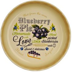 Blueberry Pie Typography Pie Plate (250.560 VND) ❤ liked on Polyvore featuring home and kitchen & dining