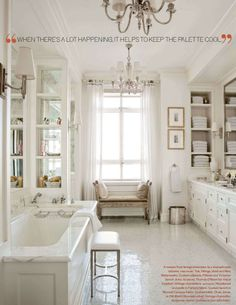 clean. White marble bathroom. Elegant.