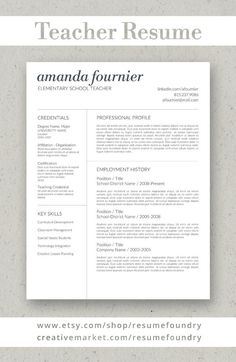 Teacher Resume template by Resume Foundry. Our professionally designed resumes stand out from the crowd. Fully customizable - change fonts, sections and colors! Our success is your success. Teacher Resume Template, Modern Resume Template, Creative Resume Templates, Resume Tips, Resume Examples, Resume Skills Section, Teaching Credential, Unique Resume, Cover Letter For Resume