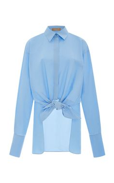 Shop Tie Waist Cotton Shirt. This shirt by **Michael Kors Collection** is rendered in a washed poplin cotton and features a pointed collar, front tie waist, and long back hem.
