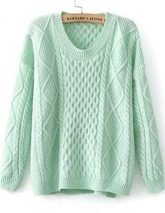 Green Long Sleeve Diamond Patterned Knit Sweater