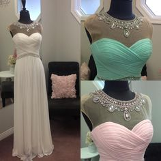 Short Poofy Prom Dresses 2016 Bling Prom Dresses With Cap Sleeves And Beaded High Collar Real Pictures Pleated Rhinestones White Pink Blue Chiffon Prom Gowns Short Prom Dresses Under 50 From Nicedressonline, $124.61  Dhgate.Com