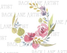 Floral Wreath Flowers Frame Wedding invitation Watercolor Drawing Clipart Illustration Instant Download PNG JPG DigiArt Image Drawing Ld80 by BackLaneArtist on Etsy